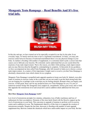 Mengenix Testo Rampage – Read Benefits And It's free trial info.