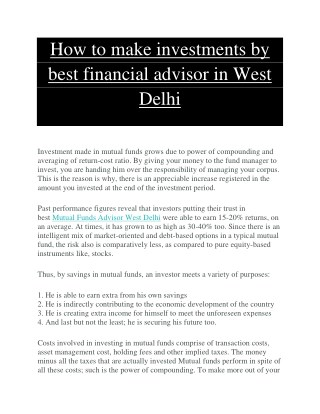 How to make investments by best financial advisor in West Delhi
