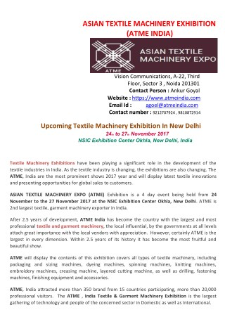 Textile Machinery Expo, Garment Technology Exhibition In Delhi -ATME India
