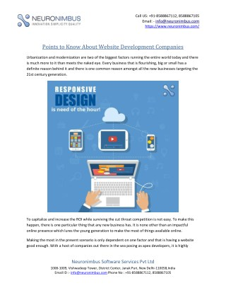 Points to Know About Website Development Companies