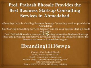 Prof. Prakash Bhosale Provides the Best Business Start-up Consulting Services in Ahmedabad