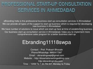 Professional Start-up Consultation Services in Ahmedabad