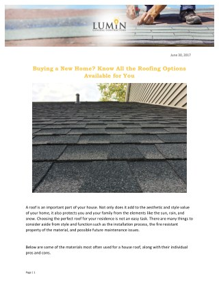 Buying a New Home? Know All the Roofing Options Available for You