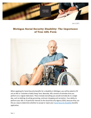 Michigan Social Security Disability: The Importance of Your ADL Form