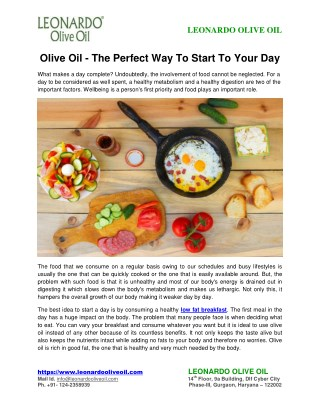 Olive Oil-The Perfect Way To Start To Your Day