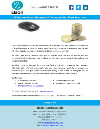 Online Investment Management Company in UK - Elson Associates