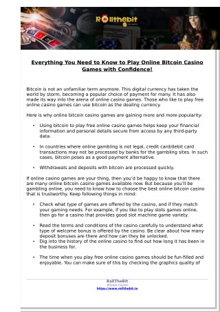 Everything You Need to Know to Play Online Bitcoin Casino Games with Confidence