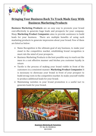 Bringing Your Business Back To Track Made Easy With Business Marketing Products