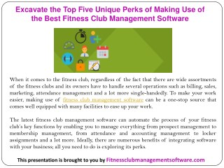 Excavate the Top Five Unique Perks of Making Use of the Best Fitness Club Management Software