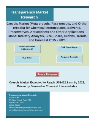 Cresols Market Key Trends, Share, Growth Factors and Industry Analysis 2015 – 2023
