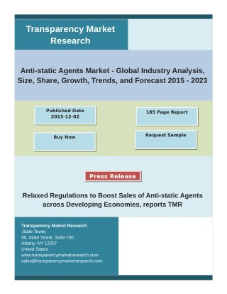 Anti-static Agents Market Analysis And Forecast (2015-2023): Market Shares, Size And Strategies Of Key Players