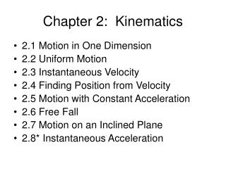 Chapter 2:  Kinematics