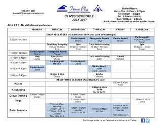 Jul 2017 class schedule