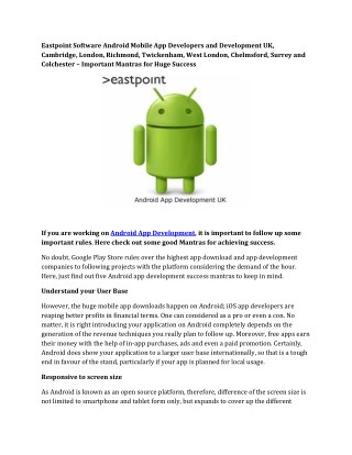 Eastpoint Software Android Mobile App Developers and Development UK,Cambridge, London, Richmond, Twickenham, West London