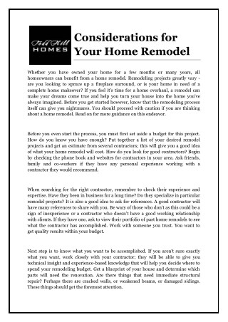 Considerations for Your Home Remodel