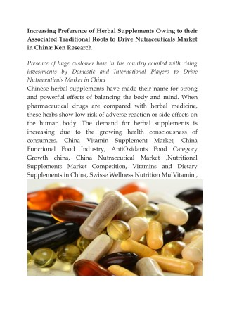 China Nutritional Supplements Market,Export Nutritional Supplements China,Vitamins and Dietary Supplements in China-Ken