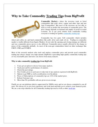 Why to Take Commodity Trading Tips from BigProfit