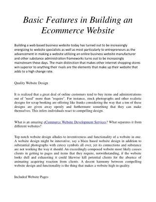 Basic Features in Building an Ecommerce Website