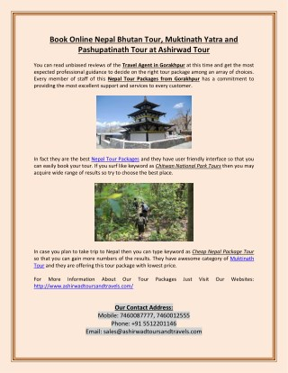 Book Online Nepal Bhutan Tour, Muktinath Yatra and Pashupatinath Tour at Ashirwad Tour