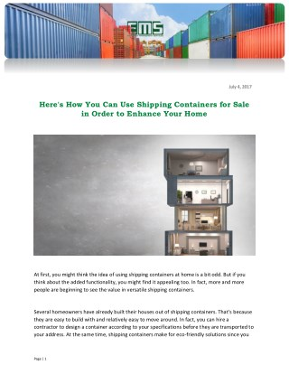 Here's How You Can Use Shipping Containers for Sale in Order to Enhance Your Home