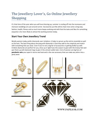 The Jewellery Lover's, Go Online Jewellery Shopping
