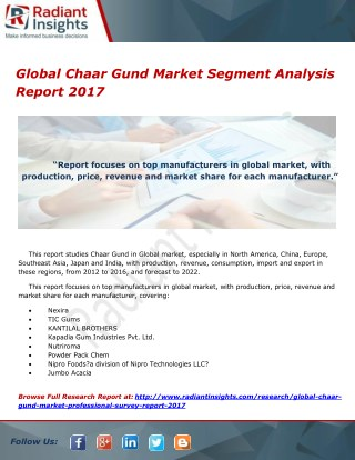 Global Chaar Gund Market Segment Analysis Report 2017