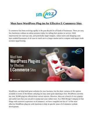 Must have WordPress Plug-ins for Effective E-Commerce Sites