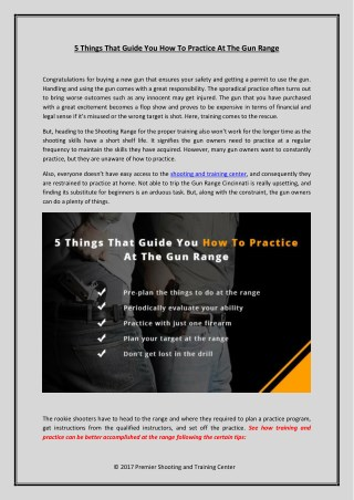 Learn how to practice at the Shooting & Training Center