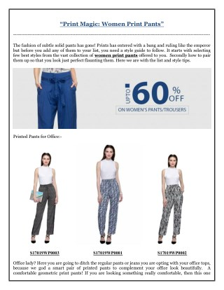 Print Magic- Women Print Pants