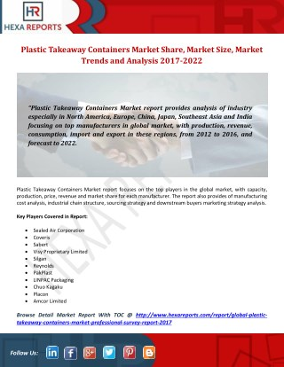 Plastic Takeaway Containers Market: In-depth Study by Manufacturers, Regions, Type and Application to 2022