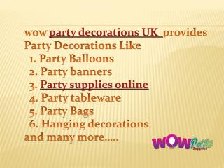 Party decorations UK, Party supplies Online
