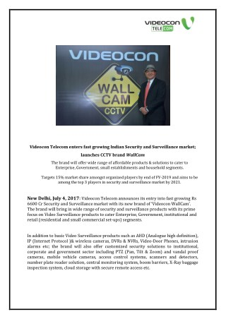 Videocon Telecom enters fast growing Indian Security and Surveillance market; launches CCTV brand WallCam