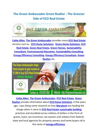 The Green Ambassador Green Realtor - The Greener Side of ECO Real Estate