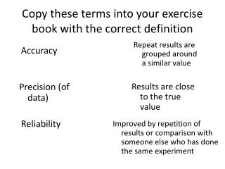 Copy these terms into your exercise book with the correct definition