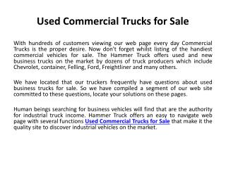 Used Commercial Trucks for Sale