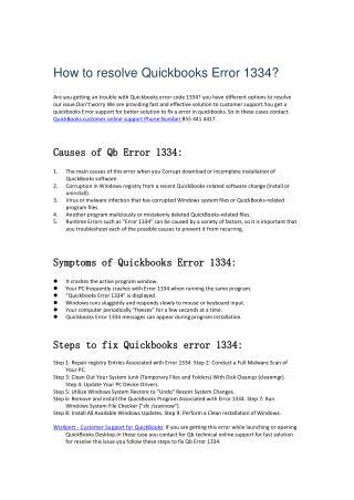 How to resolve Quickbooks error 1334?