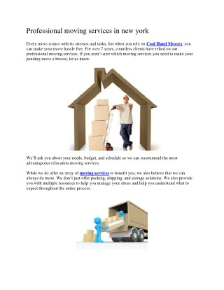 Professional moving services in new york