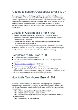 how to fix Quickbooks error 6130?