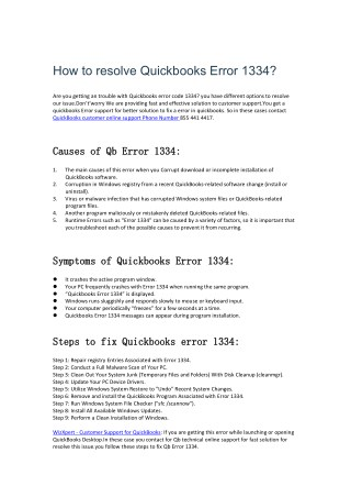 how to resolve Quickbooks error 1334?