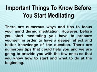 Important things to know before you start meditating