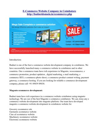 E-commerce website company coimbatore