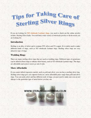 Tips for Taking Care of Sterling Silver Rings