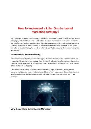 How to implement a killer Omni-channel marketing strategy?