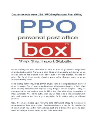 Courier to india from USA |  PPOBox(Personal Post Office)