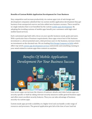 Benefits of Custom Mobile Application Development for Your Business