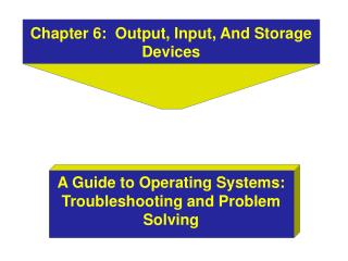 Chapter 6:  Output, Input, And Storage Devices