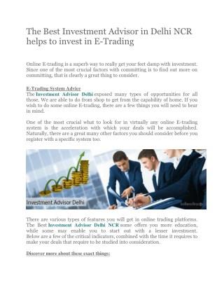 Best option trading advisor in india