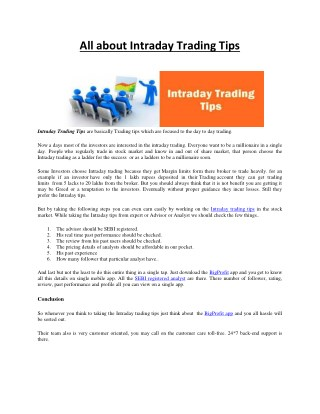 All About Intraday Trading Tips
