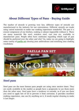 About Different Types of Pans - Buying Guide