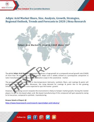 Adipic Acid Market To Show Higher CAGR Above 3% Till 2020